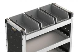 3x Plastic Bins & Rubber Matting 670mm (to fit 750mm racking)
