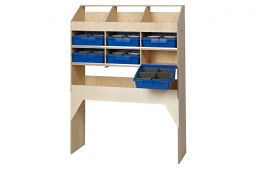 3 pigeon hole unit with 1 open shelf & 6 blue trays - 300mm depth  VL100/H/3 Birch plywood
