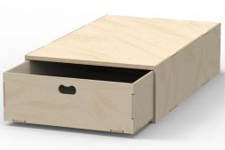 Birch plywood single large floor drawer unit - rearward opening VL200/A Birch plywood