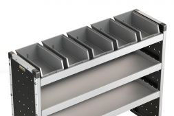 5x Plastic Bins & Rubber Matting 1170mm (to fit 1250mm racking)
