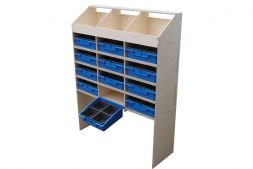 3 pigeon hole unit & 4 shelves with 12 removable blue trays - 300mm depth VL100/E/3 Birch plywood